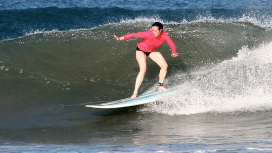 caitlin surfing in nosara in may